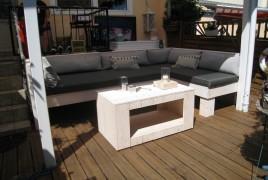 Lounge-Bank Polster 10 cm stark anthrazit Möbel in Bauholz Fichte geschliffen und geölt in white-wash